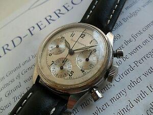 HTF Vintage 1960's Men's Girard Perregaux 3 Register Chronograph Swiss Watch