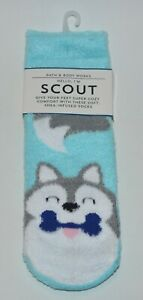 BATH & BODY WORKS BLUE SCOUT PUPPY DOG SHEA INFUSED LOUNGE SOCKS NON SKID COZY