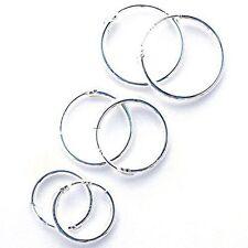 Sterling Silver 925 Hoop Earrings - 8,10,12,14,16,18 ,20,25,30,40,50,60,70 MM. !