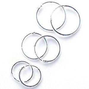 Sterling Silver 925 Hoop Earrings - 8,10,12,14,18 ,20,25,30,40,50,60,70,80 MM. !