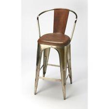 Butler Roland Iron & Leather Barstool, Medium Brown - 6130344