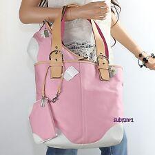 NWT Coach SET Soho Shoulder Tote 5174 Demi Bag 1813 Wristlet 8649 Pink White NEW