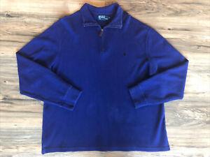Men's Polo Ralph Lauren Cotton Ribbed Pullover Sweater Shirt Royal Blue Sz XL