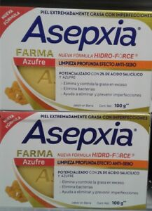 ASEPXIA FARMA AZUFRE - ACNE FIGHTING SOAP - 2 BARS of 100g each - FREE SHIPPING