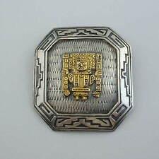 Mid Century Modern Peru Sterling 18Kt Pre-Columbian Style Pendant Brooch Signed