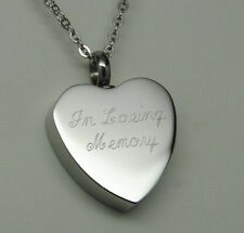 IN LOVING MEMORY CREMATION JEWELRY HEART URN NECKLACE MEMORIAL KEEPSAKE PENDANT