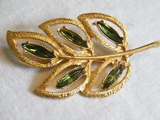 Beautiful Brooch Pin Gold Tone Textured Green Rhinestones Leaf  3 x 1 1/2 In WOW