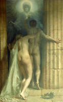 """24""""X36"""" oil painting naked young lovers nude man and nude girl Eros call canvas"""