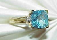 14k Swiss Blue Topaz Cushion Cut 2 Diamond Ring Yellow Gold Size 6 Vintage
