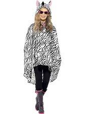 Unisex Womens Mens Zebra Party Poncho Festival Animal Waterproof Fancy Dress Fun