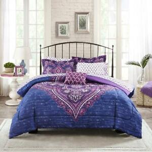 Full Size Bed In A Bag Bedding Set Microfiber Comforter Purple Modern Medallion