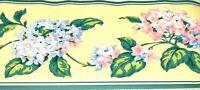 Blue Pink Hydrangea Flower YELLOW  Wallpaper Border 554104 Green Trim NEW