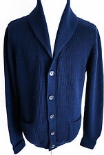 $1990 NEW TOM FORD Blue Shawl Collar Cardigan Pullover Sweater Size 54 Euro