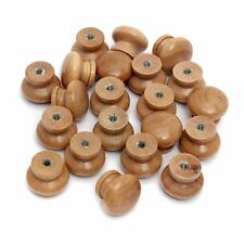 10 x Large Wood Door Knob Natural Wooden Round Cupboard Drawer Pull Handle New