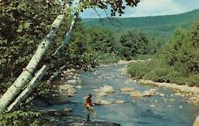 VTG POSTCARD GREETINGS FROM FARMINGTON MAN FISHING in RIVER MAINE ME ~ / A42
