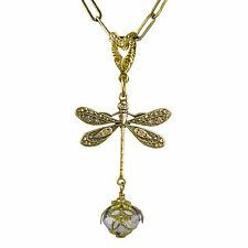 Dragonfly Daze No Monet Necklace Gold Lavender  Hand Crafted in USA Hand Painted