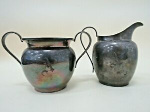 Mid Century Sterling Silver Sugar & Creamer Bowl Set / Engraved A / 248Gs