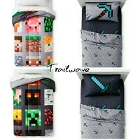 MINECRAFT TWIN BEDDING Reversible Comforter w/ 3Pc Twin Sheet Set ~ BED IN A BAG