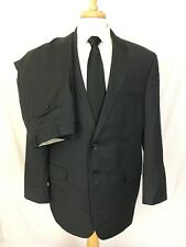 Ralph Lauren 2 Button Mens Suit 44R Wool Black Pinstripe Pleated Pants 36 x 32
