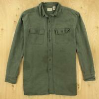 faded & distressed LL BEAN chamois flannel camp shirt LARGE green