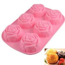 Mooncake Mould 6-Cavity Rose Flower Silicone Cake Soap Decoration Mold Baking Q
