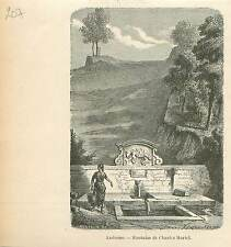 Fontaine Charles Martel Andenne Andene Namur Wallonie GRAVURE OLD PRINT 1880