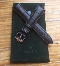 ROLEX Watch Band 20MM Black Leather with Steel Buckle & ROLEX Suede Pouch