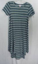Womens LuLaRoe Dress XXS Carly Teal Green, Cream Stripes NWT