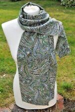 Scarf in Liberty Varuna Wool, green, blue, brown, cream, black, paisley style