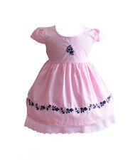 Bebé Niña Vestido De Algodón Rosa Blanco Amarillo Azul 6 9 12 18 24 meses
