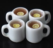 DOLLHOUSE MINIATURES 4 CUPS OF HOT LEMON TEA FOOD SUPPLY DECO BEVERAGE DRINK