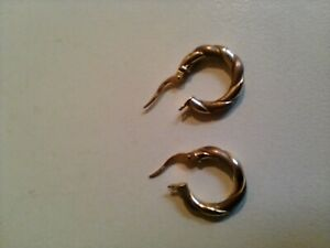 9 CT YELLOW AND ROSE GOLD ROPE TWIST CREOLE EARRINGS HALLMARKED 1.2 g