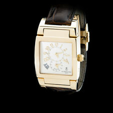 de Grisogono 18K Yellow Gold Uno DF Dual Time GMT. Guilloche Dial. Heavy!