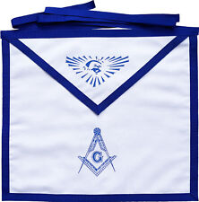 MASONIC BLUE LODGE WHITE COTTON DUCK CLOTH MASTER MASON APRON PRINTED (MAP-002)