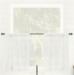 """1 Panel Clean Window Lichtenberg Textured Linen White 52"""" X  24"""" Curtain"""