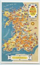 British Railways Pictorial Map Poster Wales Postcard Dalkeith unposted
