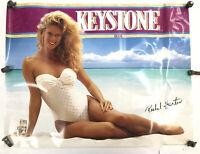 VINTAGE 1991 RACHEL HUNTER Keystone Beer Promo Poster Swim Suit Bar Man Cave