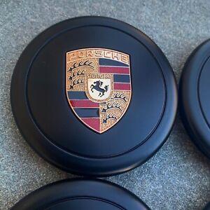 New 4Pcs Fuchs Wheel Center Caps Porsche Black Colored Crest 91136103228