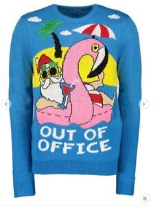 Christmas Jumper Sweater Hawaiian Hawaii Flamingo Mens Out Of Office S M L XL UK