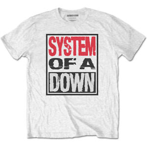 System Of A Down 'Triple Stack Box' (White) T-Shirt  - NEW & OFFICIAL!