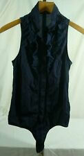 Patrizia Pepe Firenze Navy Blue Ruffle Body Suite Blouse Sleeveless 20B045