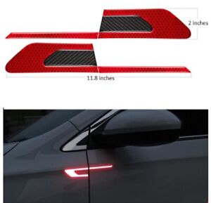Red Side Door Fender Reflective Carbon Fiber Molding Accent Trim 2020-2021