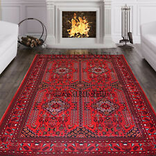Red Afghani Khorasan Bokhara Ruby Traditional Rug Area Rugs Carpet Small XLarge