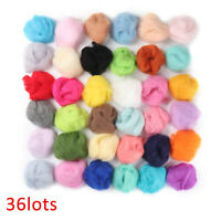 36 Colors Felting Wool Fibre Roving Needle Hand Felt set Spinning Sewing UK