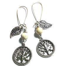 Howlite Gemstone Earrings Tibetan Tree of Life Silver Extra Long Kidney Wires