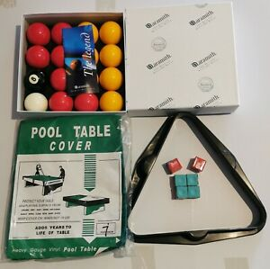 Water resistant 7ft Pool Table Cover, Triangle, Aramith Balls & Chalk Bundle. UK
