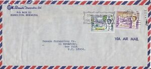 Bermuda -1962-9 Churches, 2d St. Peter, 10d Christ Church Air Mail Cover -Slogan