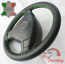 FOR OPEL CORSA D 06+ - BLACK PERF LEATHER STEERING WHEEL COVER GREEN STIT