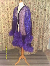 Drag Queen High fronted Purple/black sequin coat with purple feathers 20/22