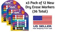 NEW - 3 Packs of Expo Low Odor Dry Erase Vibrant Color Markers, 36 Markers Total